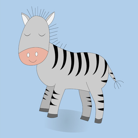 Cute cartoon zebra. Vector print. Isolated. Color background. Good for t shirt design, stickers, cards and nursery decor. Banque d'images - 116998834