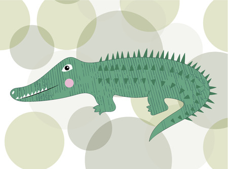Cute crocodile cartoon isolated. Funny character for print. Vector illustration.