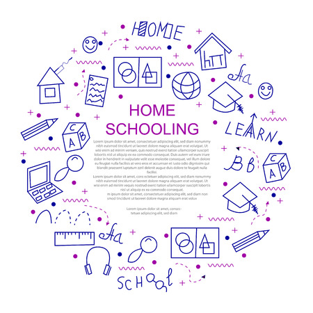 Homeschooling education concept in circle with line icons. Vector illustration.