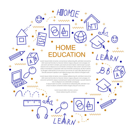 Home education concept in circle with line icons. Vector illustration.