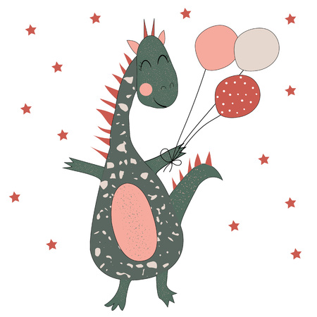 Funny dinosaur with balloons and stars. Ideal for cards, invitations, party, banners, kindergarten, preschool and children room decoration. Vector. Ilustrace