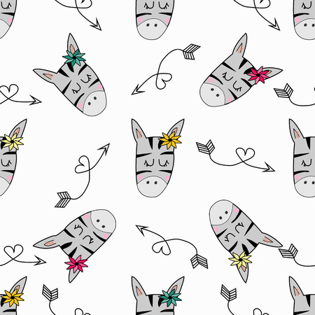 Cute hand drawn funny zebra with arrows Seamless pattern. Vector