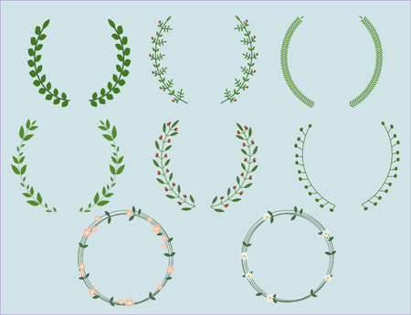 Set of color wreaths and borders for any design purposes. Vector illustration. Vettoriali