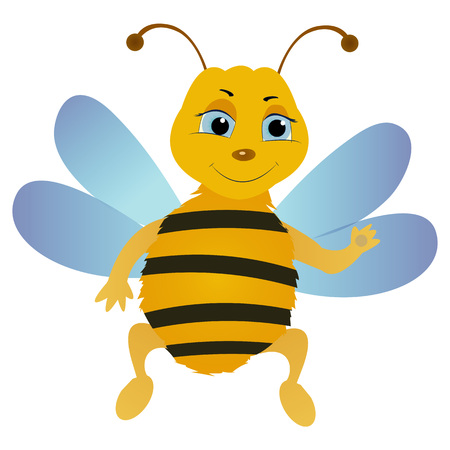 Cartoon bee character isolated on the white background. Vector illustration.