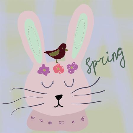 Hand drawn cartoon style easter bunny greeting card - Vector illustration