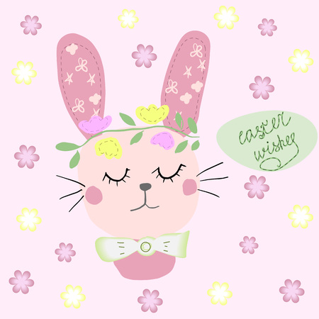 Hand drawn cartoon style easter bunny greeting card with Happy easter text- Vector illustration