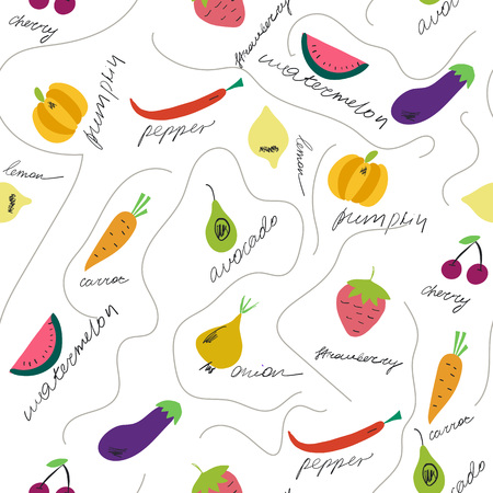 Cute fruits and vegetables with their names seamless pattern. Hand drawn elements on the white background. Vector illustration. Vettoriali