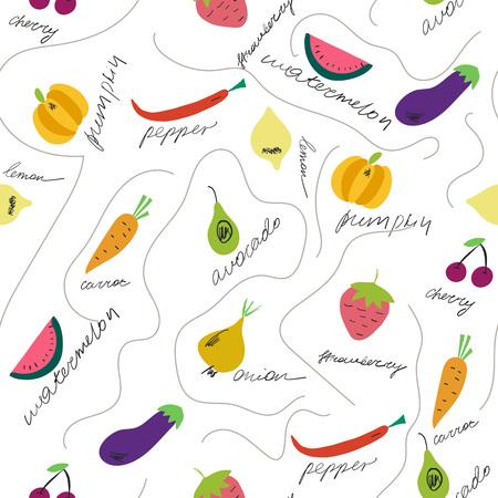 Süßes Obst und Gemüse mit ihrem nahtlosen Muster. Handgezeichnete Elemente auf dem weißen Hintergrund. Vektor-Illustration. Vektorgrafik