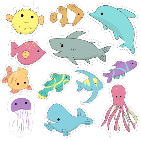 Set of kawaii marine creatures patches, cute cartoon badges, fun stickers design vector.