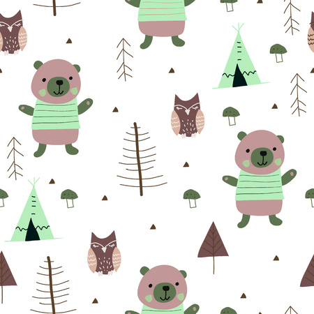 Scandinavian woodland seamless pattern with cute bear and owl. Vector illustration.