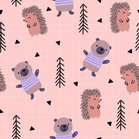 Scandinavian woodland seamless pattern with cute bear and hedgehog on the pink background. Vector illustration. Illustration