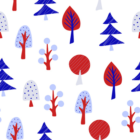 Magic garden seamless pattern with different trees. Vector Illustration.  イラスト・ベクター素材