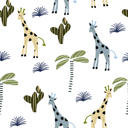 Seamless pattern in Scandinavian style with giraffe, cactus, palm. Vector illustration. Stock Photo