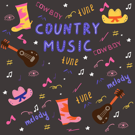 Country music doodle set. Hand drawn Vector Illustration.