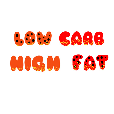 Low carb high fat lettering. Keto diet hand drawn typography. Perfect for poster, banner and other design purposes.