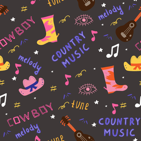 Seamless Pattern with Country music related elements. Hand drawn Vector Illustration.