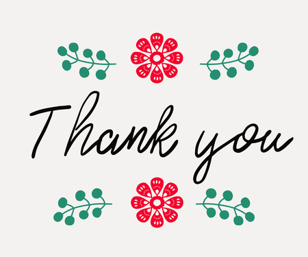 Thank you - handwritten phrase in folk style. in folk style for posters, t-shirts and wall art. Vector design.