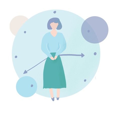 Concept of menopause in the form of woman, touching her belly and a clock.