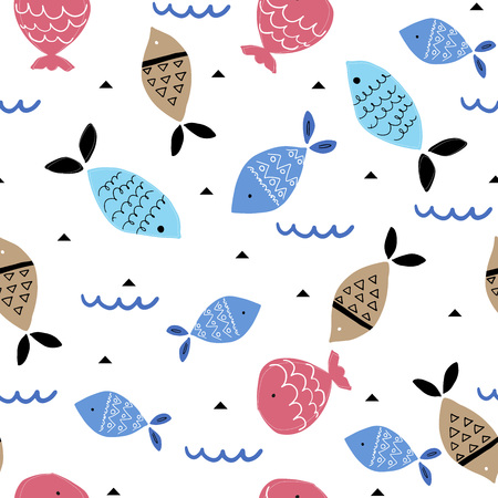 Seamless pattern with colorful fish in scandinavian style. Vector Illustration.