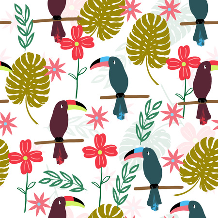 Tropical seamless pattern with toucans, monstera leaf, flowers. Vector illustration.