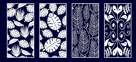 Set of Decorative laser cut panels with monstera leaves. Vector Illustration. 写真素材