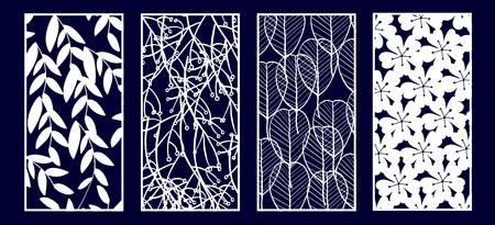 Set of Decorative laser cut panels. Vector Illustration. Illustration