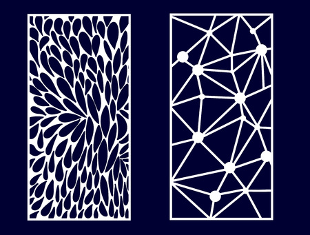 Set of Decorative laser cut panels. Vector Illustration. Vettoriali