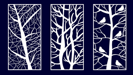 Satz dekorative lasergeschnittene Platten mit Baumformen. Vektor-Illustration. Vektorgrafik