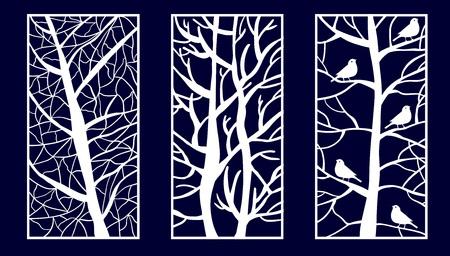 Set di pannelli decorativi tagliati al laser con forme ad albero. Illustrazione di vettore. Vettoriali