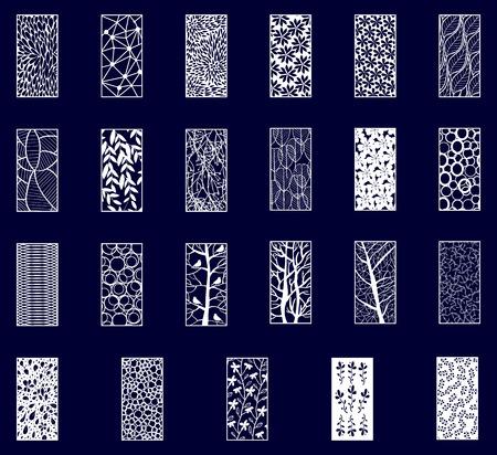 Gran Juego de Paneles Decorativos cortados con láser. Ilustración de vector.
