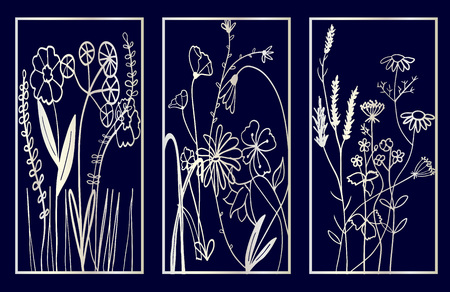 Set of Decorative laser cut panels with floral composition. Vector Illustration. 写真素材