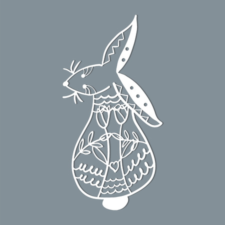 Easter rabbit bunny. Template for laser cutting, wood carving. Vector illustration. 写真素材