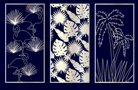 Set of Decorative laser cut panels with summer related elements: monstera, flamingo, palm tree. Vector Illustration.  イラスト・ベクター素材