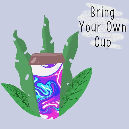 Reusable cup among leaves with slogan Bring Your Own Cup. Zero waste concept. Eco lifestyle. 写真素材