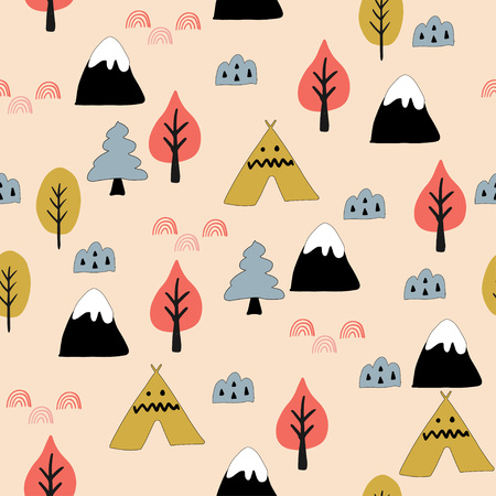Seamless woodland pattern. Creative design for wrapping, textile, wallpaper. Flat vector illustration.