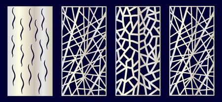 Set of Decorative laser cut panels with summer related elements: monstera, flamingo, palm tree. Vector Illustration. 写真素材