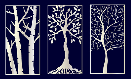Set of Decorative laser cut panels with tree shapes.Vector Illustration.
