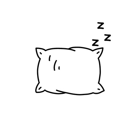 Vector line icon with pillow silhouette. Sleep related symbol. Vector Illustration.