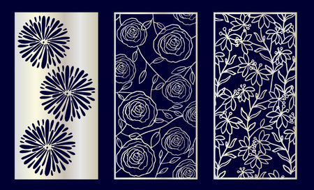 Set of Decorative laser cut panels with floral elements. Vector Illustration. Stock Illustratie