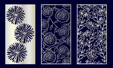 Set of Decorative laser cut panels with floral elements. Vector Illustration. Illustration