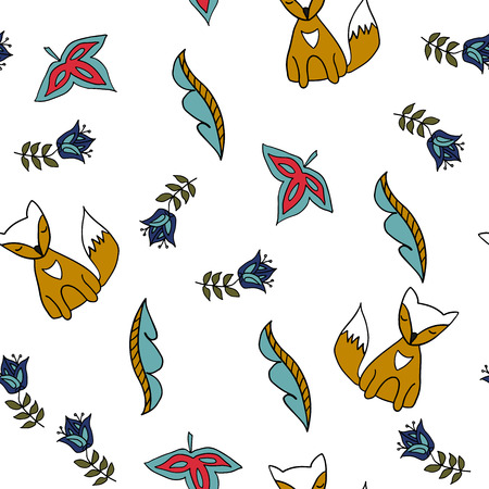 Seamless pattern with fox and folk elements. Scandinavian style. Vector illustration.