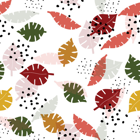 Multicolor monstera leaves hand drawn seamless pattern. Tropical background. Botanical wrapping , textile, flat design. Vector Illustration.