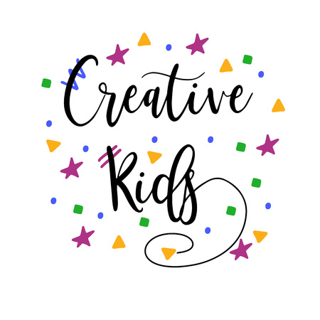 Creative Kids modern calligraphy. Bright lettering. Trendy quote. Vector Illustration 写真素材