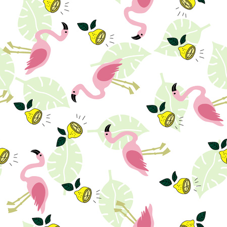 Seamless pattern with flamingo, lemon and green monstera leaves on the white background. Tropical illustration. Trendy fashion design. Vector.