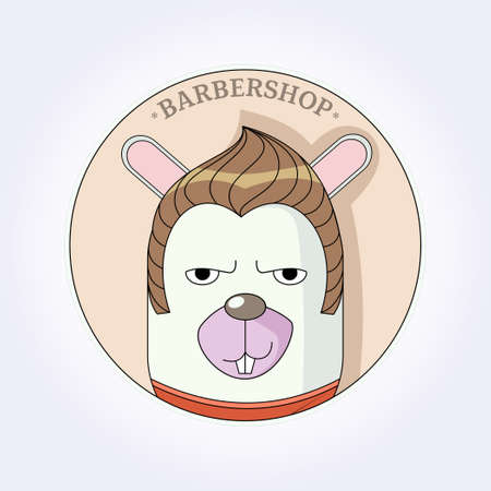 Vector rabbit hipster with fashion hair. Hairdresser for men. Barbershop