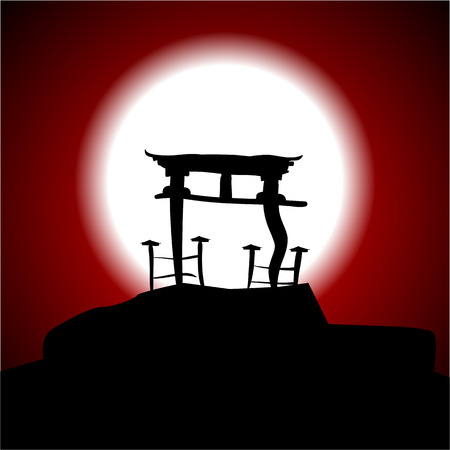 torii: Japanese night, Asia, temple, the moon in the sky, vector