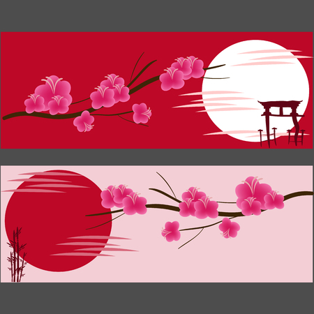 time lapse: two Asian banner, Japanese cherry, pink, sun, vector