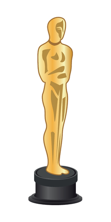 Vector illustration of a gold figurine Oscar. Academy Award. Oscar statuette Illustration
