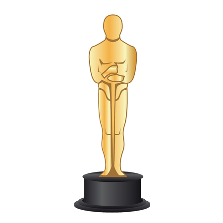 February 19, 2018: Vector illustration of a gold figurine Oscar.