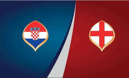 Plakat przedstawiający mecz piłki nożnej między reprezentacjami Chorwacji i Anglii